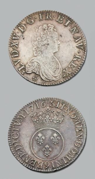 LOUIS XV (1715-1774) Écu vertugadin. 1716....