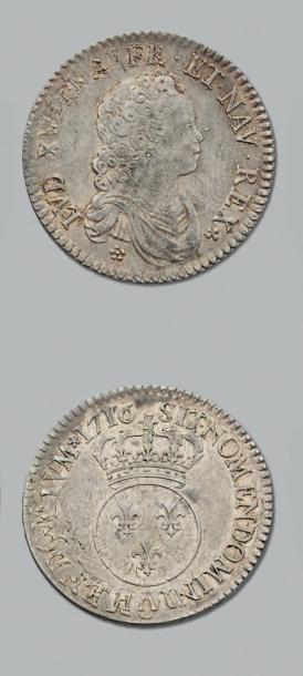 LOUIS XV (1715-1774) Demi écu vertugadin....