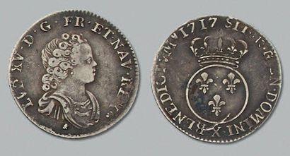 LOUIS XV (1715-1774) Dixième d'écu vertugadin....