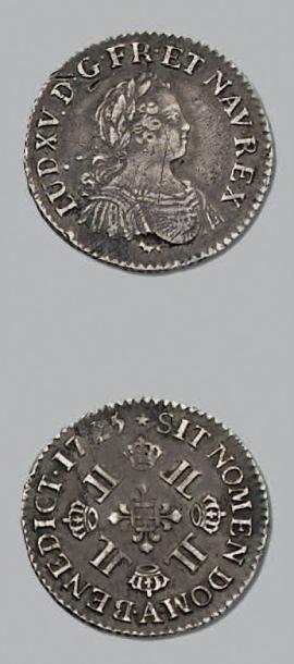 LOUIS XV (1715-1774) Huitième d'écu aux huit...