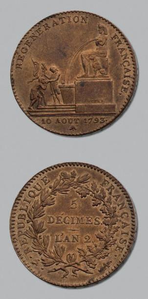 CONVENTION (1792-1795) 5 Décimes. 1793. Régénération...
