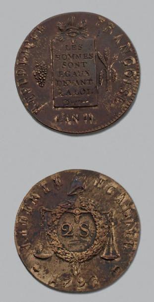 CONVENTION (1792-1795) 2 Sols aux balances....
