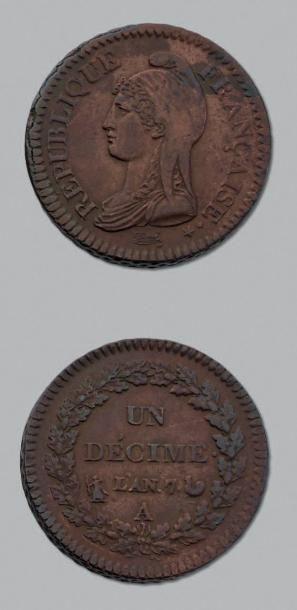 DIRECTOIRE (1795-1799) Décime. An 7. Paris....
