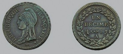 DIRECTOIRE (1795-1799) Décime. An 5. Paris....