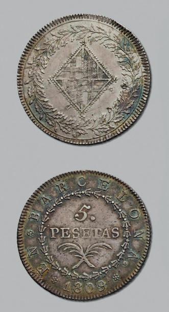 OCCUPATION DE BARCELONE 5 Pesetas. 1809....