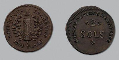 SIÈGE de MAYENCE (Allemagne) 2 sols. 1793....