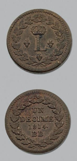 LOUIS XVIII (1814, 1815-1824) Décime. 1814....
