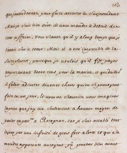 Louis XIV Manuscrit, XVIIIe siècle. 3volumes in-folio, près de 2 200 pp., veau brun...