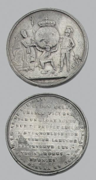 1789 Ouverture des États Généraux à Versailles, Assemblée de la noblesse...: 5 Médailles,...