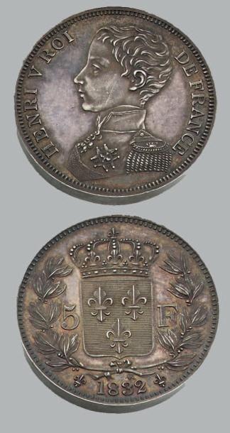 HENRI V (1820-1883) 5 Francs. 1832. Argent....