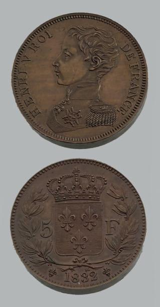 HENRI V (1820-1883) 5 Francs. 1832. Bronze....