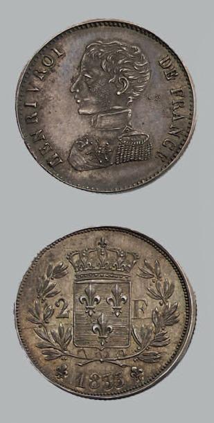 HENRI V (1820-1883) 2 Francs. 1833. Argent....