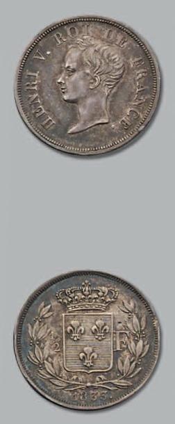 HENRI V (1820-1883) Demi-Franc. Buste juvénile....