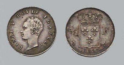 HENRI V (1820-1883) Quart de Franc. 1833....