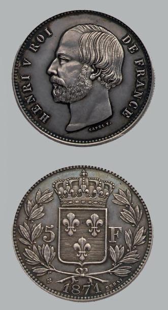 HENRI V (1820-1883) 5 Francs. 1871. Argent....