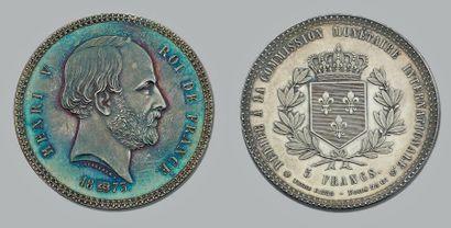 HENRI V (1820-1883) 5 Francs. 1873. Argent....