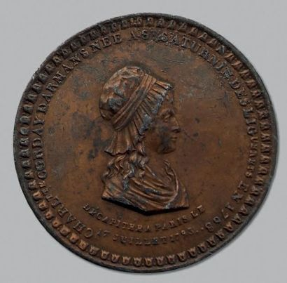 Charlotte Corday: 4 Médailles en cuivre,...