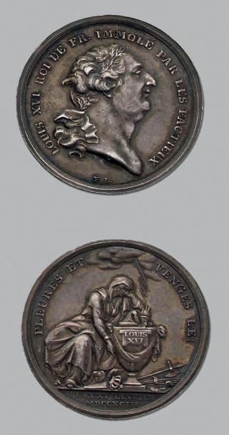 Louis XVI: immolé par les factieux. Argent....