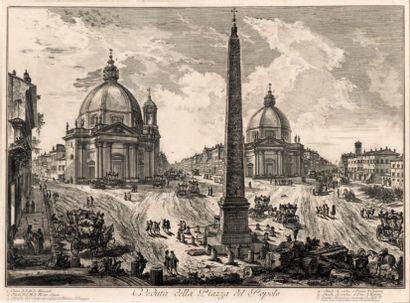 Veduta della Piazza del Popolo, planche de...