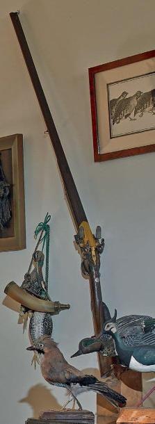 Fusil de chasse double à silex. Canons ronds...
