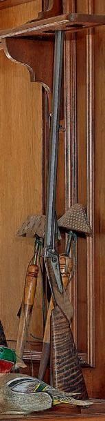 Carabine à percussions, canon à pans damas,...