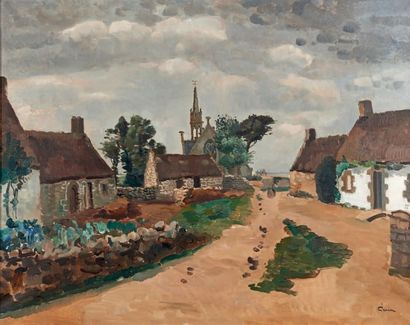 Edmond CERIA (1884-1955) Village de la Madeleine, Bretagne Huile sur toile, signée...