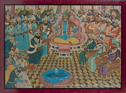 Scène de cour de Shah Abbas le Grand, Iran,...