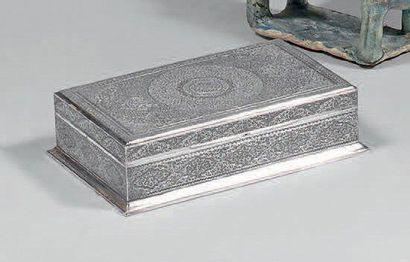 Coffret en argent, Iran, XXe siècle Rectangulaire,...