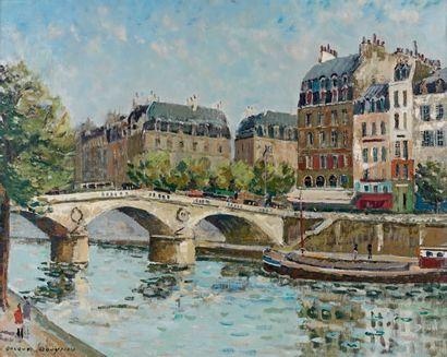 Jacques BOUYSSOU (1926-1997) Paris, le pont Saint-Michel Huile sur toile, signée...