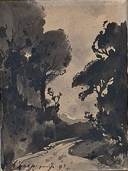 Chemin forestier, 1897 Lavis d'encre, signé...