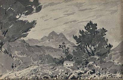 La maison de berger, Menton 1900 Lavis d'encre,...