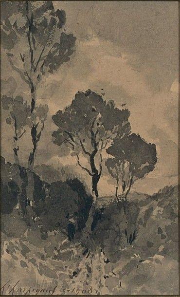 Les trois arbres, 1908 Lavis d'encre, signé...