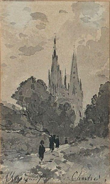 Chartres, la cathédrale Lavis d'encre, signé...