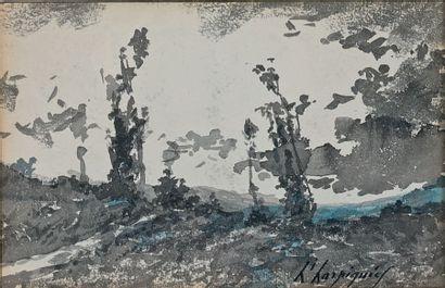 Horizon bleu Lavis d'encre, rehaussé de bleu,...