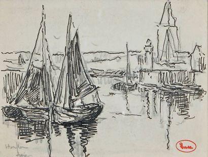 Voiliers dans le port d'Honfleur Dessin à...