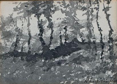 Arbres sur un talus, 1914 Lavis d'encre,...
