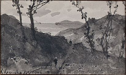 Promeneurs en bord de mer, 1904 Lavis d'encre,...
