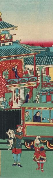 UTAGAWA TOYOSHIGE II (1855-1944) Vue du train à vapeur à la station de Takashima-cho...