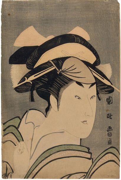 UTAGAWA KUNIMASA (1773-1810) Portrait en buste de l'acteur Iwai Hanshirô regardant...