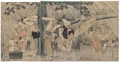KITAGAWA UTAMARO (1753 ? -1806) Le refuge d'une pluie soudaine, Ama-yadori. Un groupe...