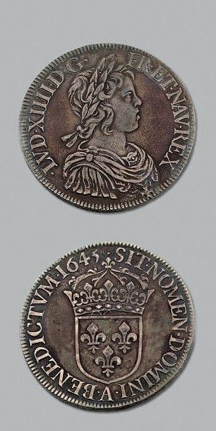 LOUIS XIV (1643-1715) Écu à la mèche courte....
