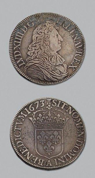 LOUIS XIV (1643-1715) Écu à la cravate. 1673....