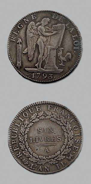 CONVENTION (1792-1795) Écu de 6 livres. 1793....
