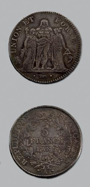 DIRECTOIRE (1795-1799) 5 francs Union et...