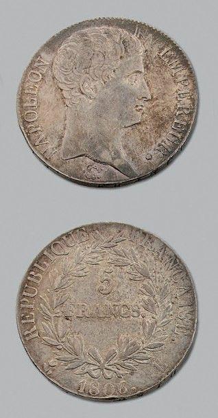 PREMIER EMPIRE 5 francs, tête nue. 1806....