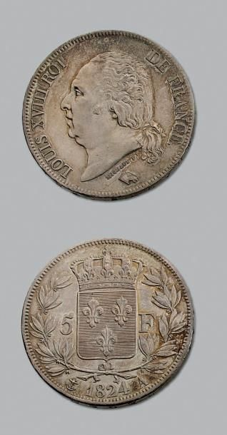 LOUIS XVIII (1815-1824) 5 francs. 1824. Paris....