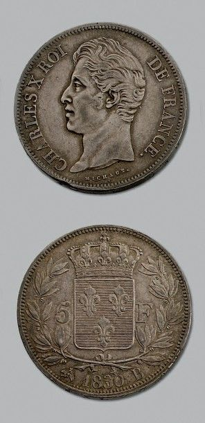 CHARLES X (1824-1830) 5 francs. 1830. Rouen....