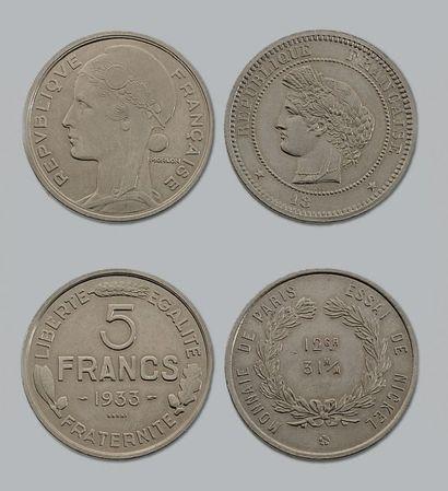 TROISIÈME RÉPUBLIQUE (1871-1940) 5 francs,...