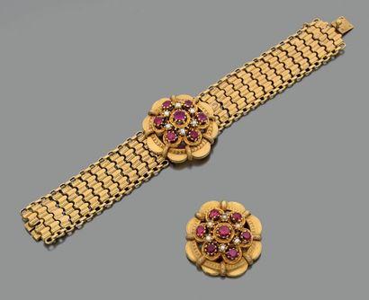 Bracelet articulé et broche en or jaune 750...