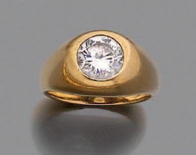 Bague jonc en or jaune 750 millièmes ornée...